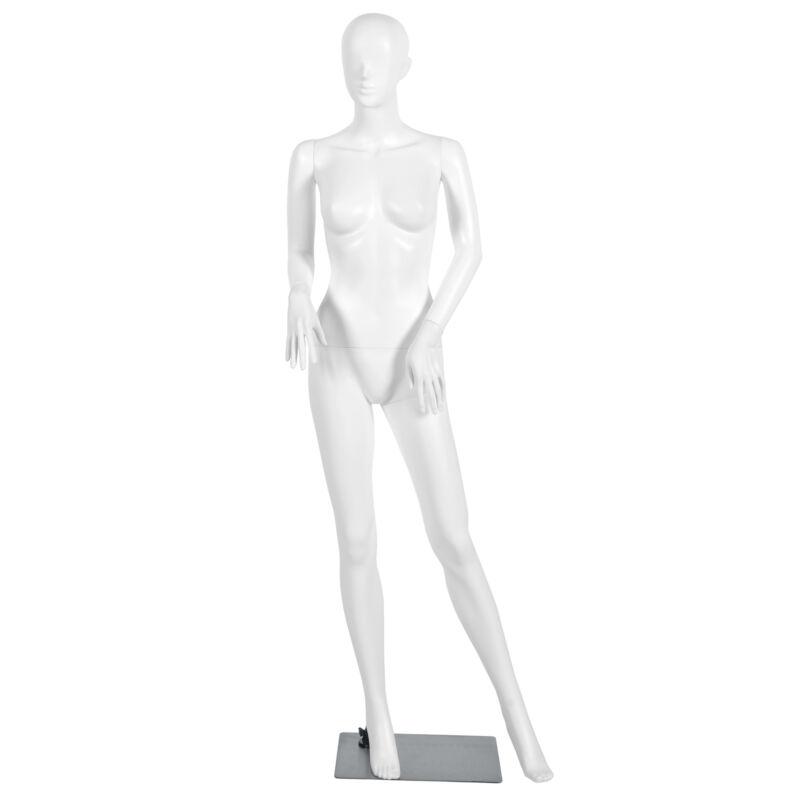 5.8 FT Female Mannequin Plastic Full Body Dress Form Display w/ Base White New