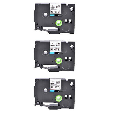 3pk Tz-231 Tze-231 Black On White Label Tape For Brother P-touch Pt-h100 12