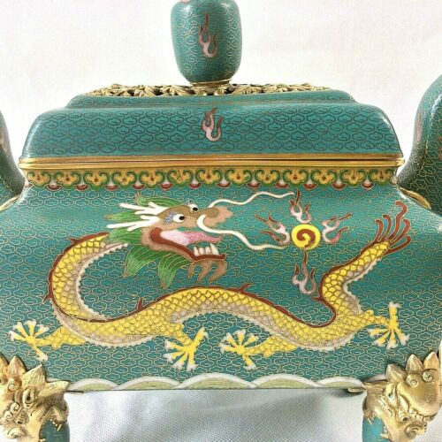 CHINESE CLOISONNE CENSER INCENSE BURNER 5 TOED IMPERIAL 2 DRAGON YELLOW TURQUOI