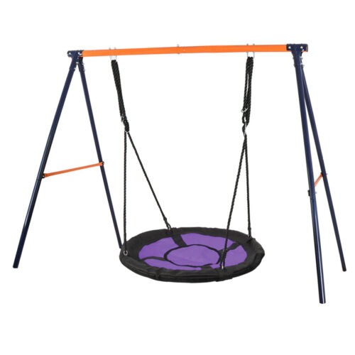 Powder-Coat Painted Metal A-Frame Swing Stand+Durable 40″Large Saucer Tree Swing Outdoor Toys & Structures