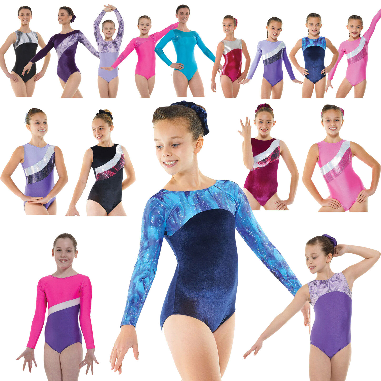 Gymnastics Leotard Girls Metallic Lycra Velvet Unitard Shine Gym Leotards **UK**