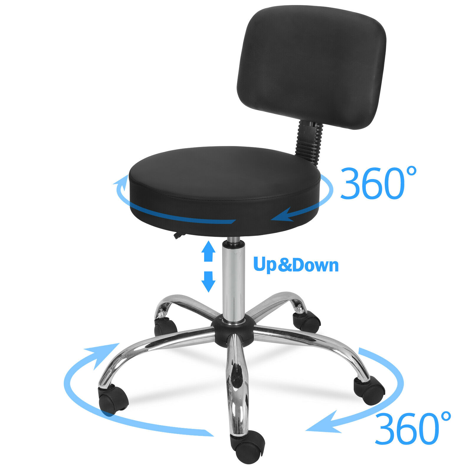 Rolling Bar Stool Adjustable Hydraulic Massage Spa Salon Chair With Back Rest Health & Beauty
