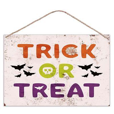Halloween - Truco o Trato - Apariencia Vintage Metal Grande Placa Letrero (Truco Trato Halloween)