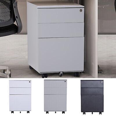 24 Steel 3 Drawer Home Office Under Desk Filing Cabinet W Lock On Wheels