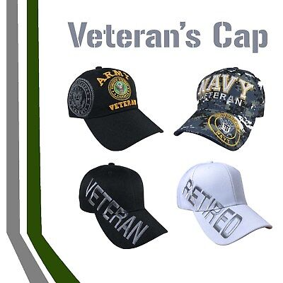 Army Navy Veterans Veteran Cap Hat Military Baseball Ball Vet Caps Hats 1SZ FIT