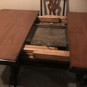 Antique dining table and 6 chairs