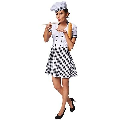 Women's Chef Costume Halloween Fancy Dress Outfit Adult Kitchen Cook Hotel Motel