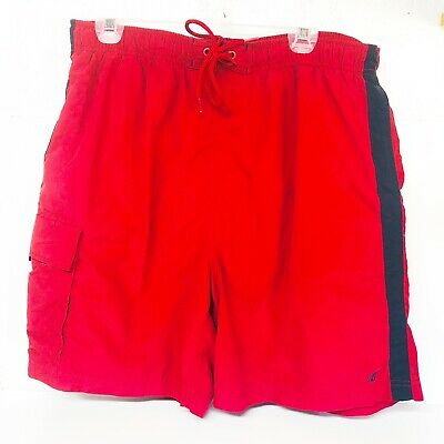 Nautica Mens Swim Trunks XL Board Shorts Cargo Pocket Stretch Waist Red