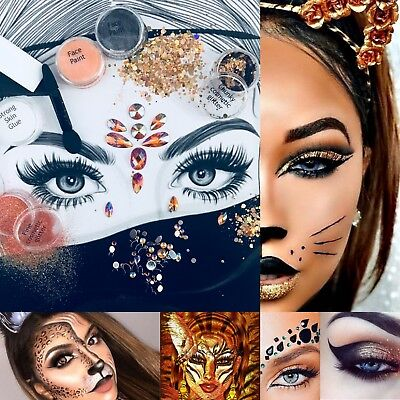 "Halloween Set "" Leopard Tiger "" Complete Glitter Makeup Costume Crystal Gems - Halloween Leopard Makeup"