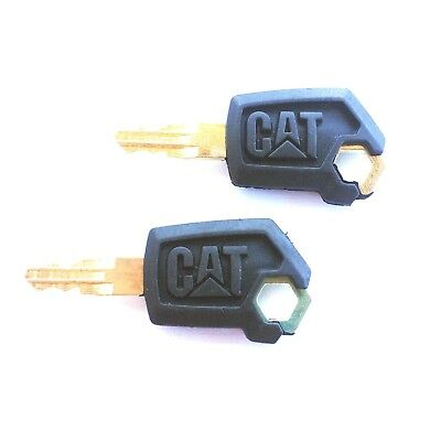 2 Cat Caterpillar Heavy Equipment Ignition Keys 5p8500 With Logo Ships Free