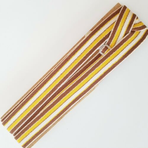 Vintage Latvia USSR Brown Yellow White Stripe Silver Clip Elastic Suspenders