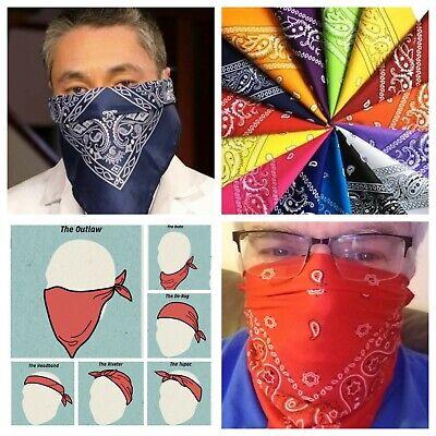 BANDANA Paisley Face Mask Head Wrap Cotton Scarf Neck Cover Army Camo US Flag