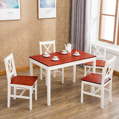 5 pcs Pine Wood Dining Table and Chairs Set Kitchen Dining Room Furniture