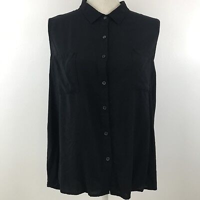 Ambiance Apparel Womens Sleeveless Blouse Black Button Up Rayon Size 1X  Chico