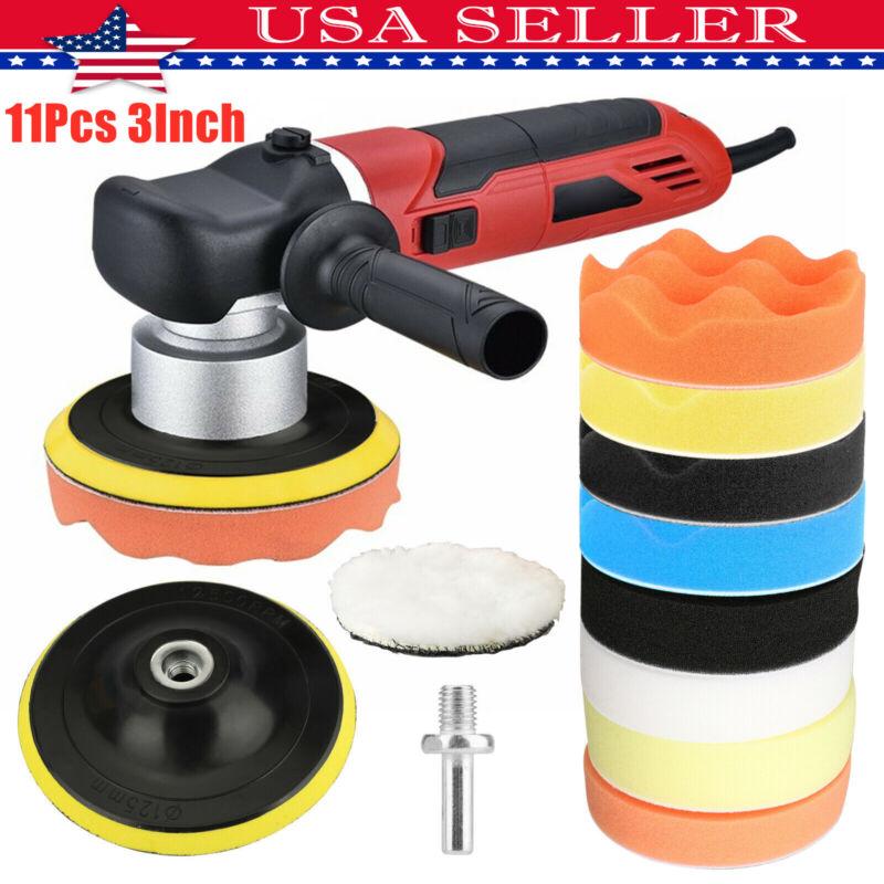 11pcs 3Inch Car Buffing Pads Polishing for Drill Sponge Kit Waxing Foam Polisher