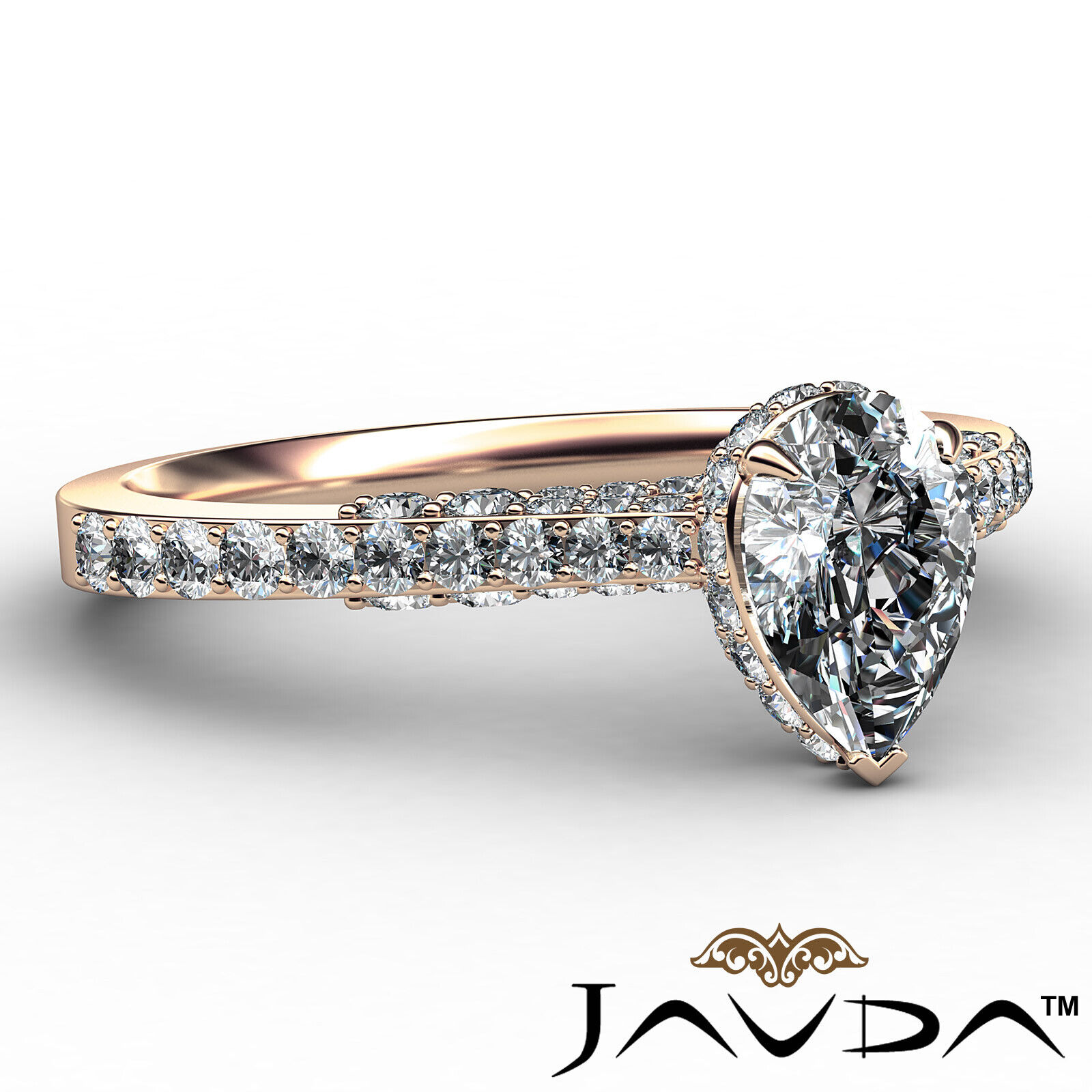 Pear Diamond Engagement Pave Ring GIA Certified H Color & VS2 clarity 1.06 ctw 8
