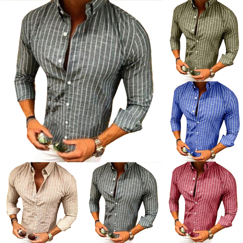 Men Long Sleeve Striped Shirt Slim Fit Stylish Formal Work D