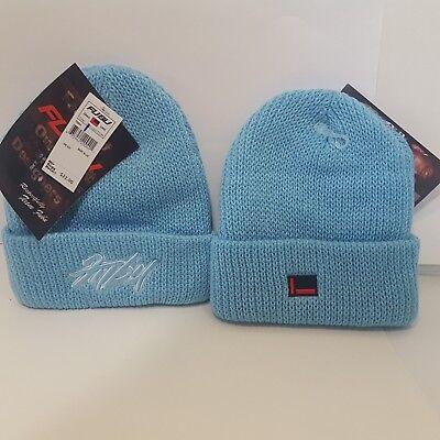 Fubu Mens Beanie Hat Knit Cap Light Blue Spellout One Size Pullover Rap Hip Hop  ()