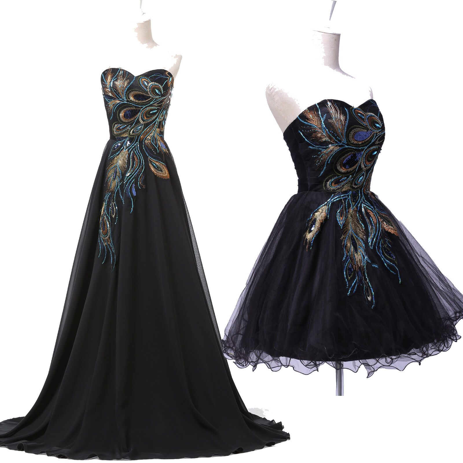 65a0a71338069 Long/Short PEACOCK Masquerade Formal Evening Ball Gown Party Prom Dresses  Black Sc 1 St EBay