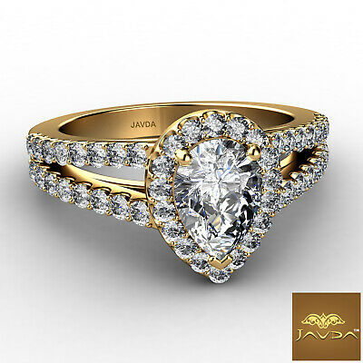 Halo French Setting Pear Diamond Engagement Split Shank Ring GIA F VS1 1.25 Ct 5