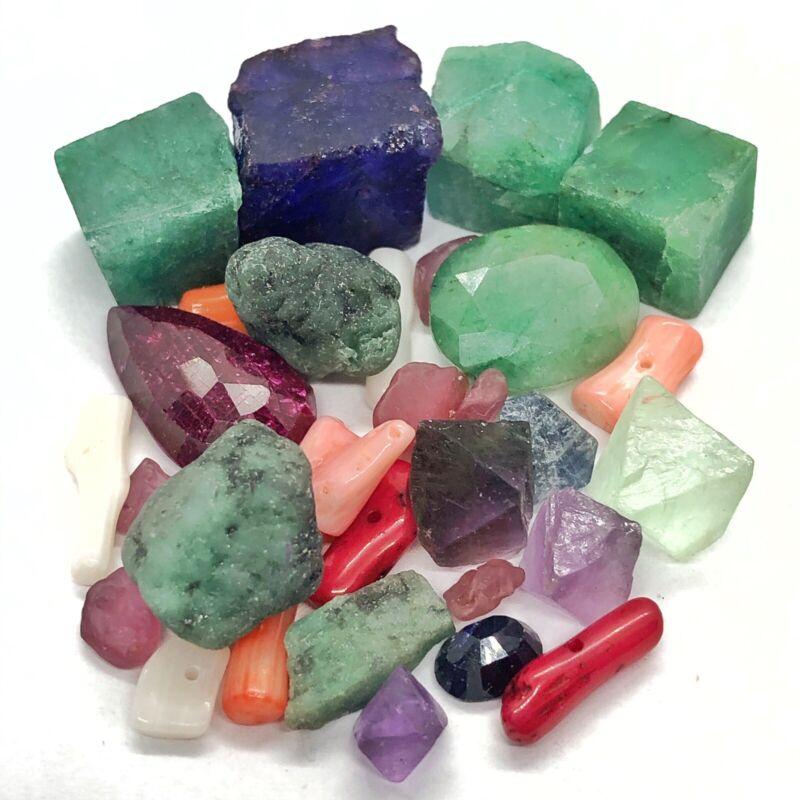Authentic Natural Gemstones Lot - Ruby Emerald Sapphire Fluorite - Gems Jewelry