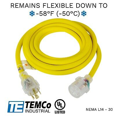Temco 15ft Cold Weather Generator Cord Yellow Nema L14-30 125250v 30a Ul