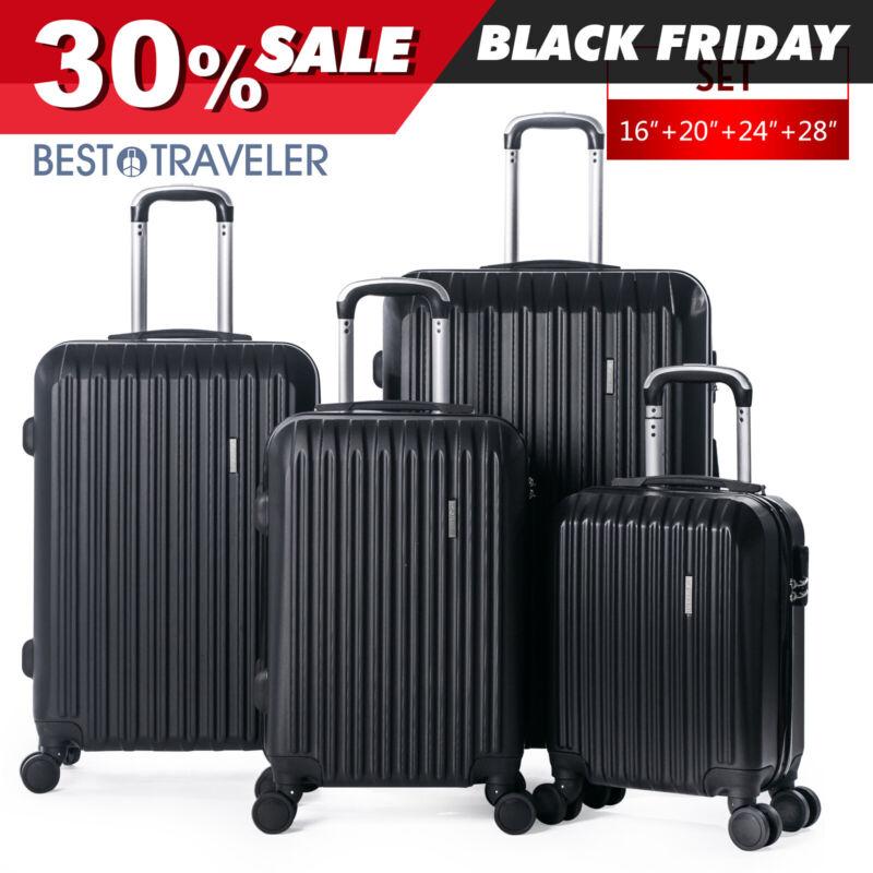 """4 Piece ABS Luggage Set Light Travel Case Hardshell Suitcase 16""""20""""24""""28"""""""