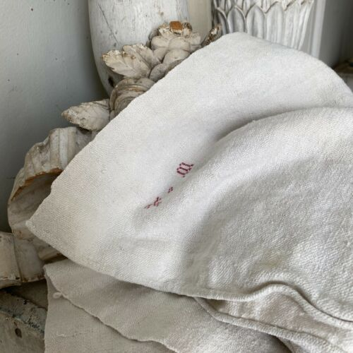 Antique French PURE linen towel TM monogram hand kitchen towel lovely old