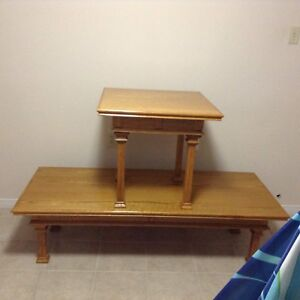 Oak coffee table and lamp table