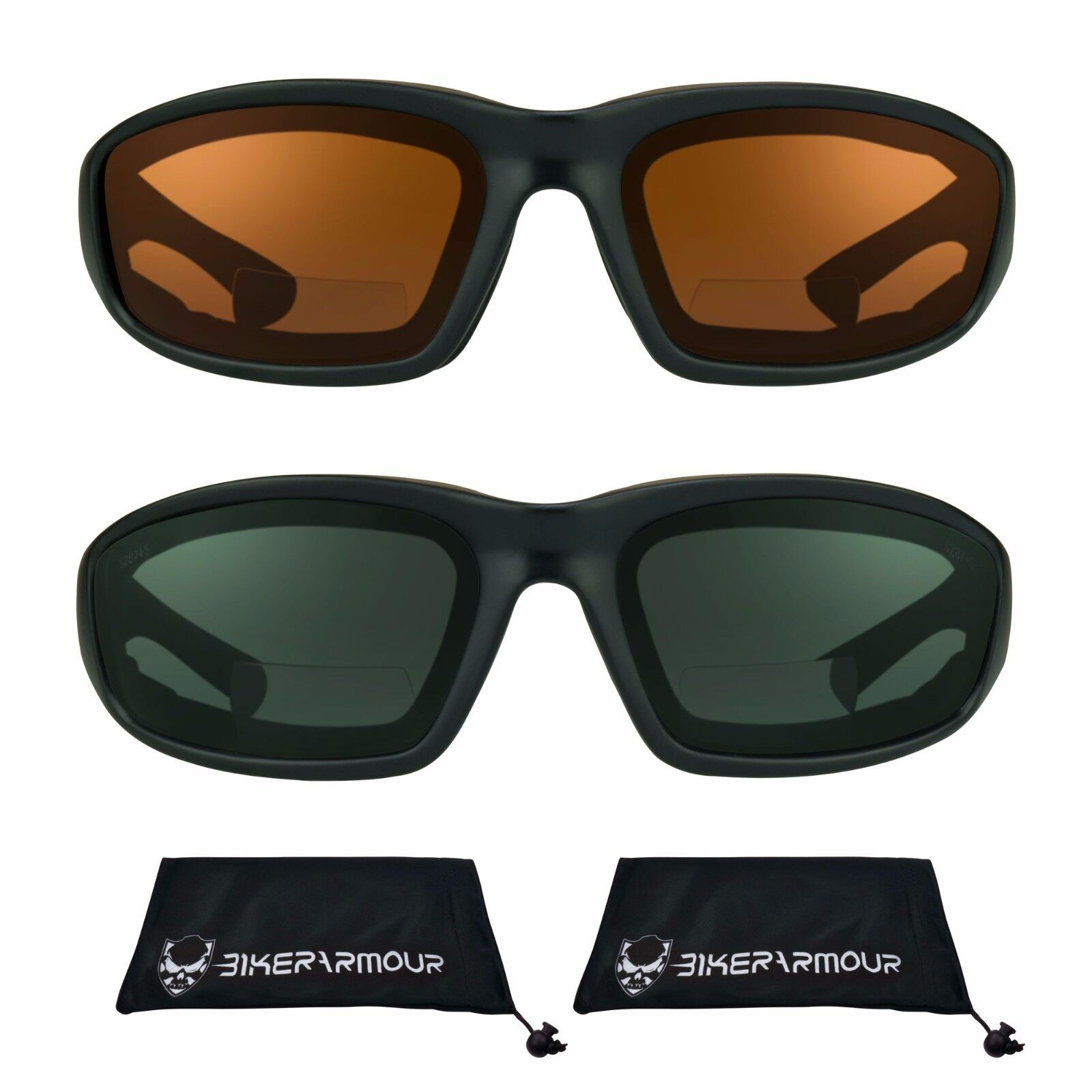 Bikershades Motorcycle Bifocal Sunglasses Reader 1.00 Foam Padded Wind Proof ANSI Z87 for Smaller Head Sizes