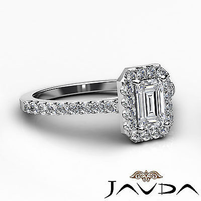 Halo French U Pave Women's Emerald Natural Diamond Engagement Ring GIA G VS2 1Ct 2