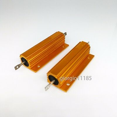 2 Pcs 100k Ohm 100k 100w Watt Aluminum Housed Metal Case Wirewound Resistors