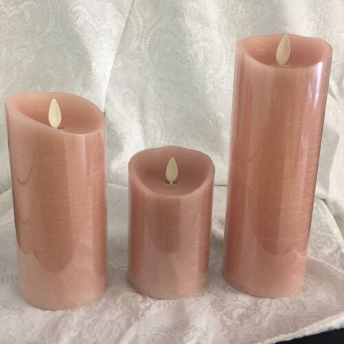 Luminara  Flame Flicking Candle in Baby Pink  set of 3