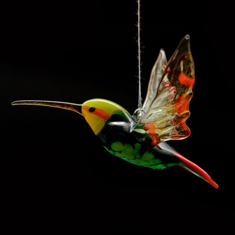 Glass Hummingbird Bird Animal Figurine, Handmade Hand Blown Bird Animal, Pendant