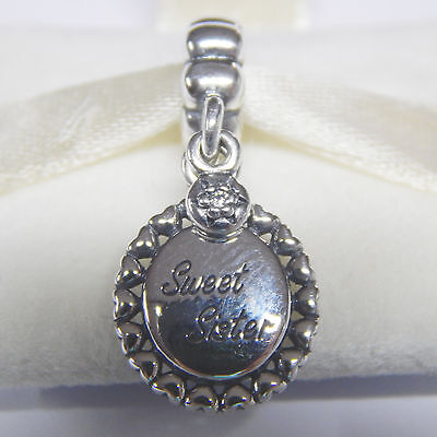 New Pandora 791126Cz Charm Sterling Silver Sweet Sister Clear Cz Box Included