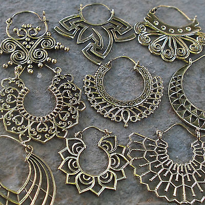 Tribal Brass Earrings Gypsy Hoop Ethnic Festival Jewellery Indian Boho