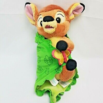 Disney Babies Bambi In Leaf Butterfly Swaddle Blanket Deer Fawn Plush Soft Toy