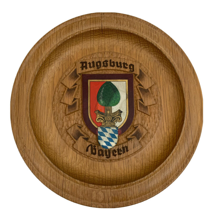 Augsburg Bayern Coat Of Arms German Wooden Plate EUC