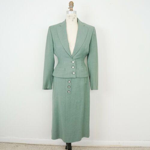 Vintage 40s Moordale Botany Fabric Virgin Wool Suit Blazer Skirt Set XS Green
