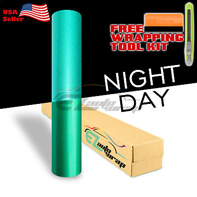 12x48 Reflective Green Vinyl Wrap Sticker Decal Graphic Sign Adhesive Film