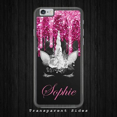 PERSONALISED UNICORN FACE BLACK PINK GLITTER Phone Case Cover for iPhone Samsung