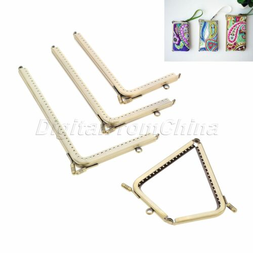 2pcs Metal Square Coin Purse Frames Wallet Bag Clasp DIY Sewing 8.5-20cm Bronze