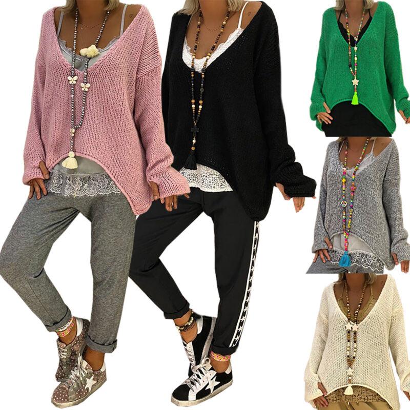 Damen Strickpulli Pullover Baggy Sweater V-Ausschnitt Strickkleid Blusen Longtop