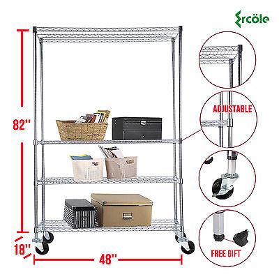 82x48x18 Chrome 4 Tier Wire Shelving Rack Heavy Duty Steel Shelf Adjustable