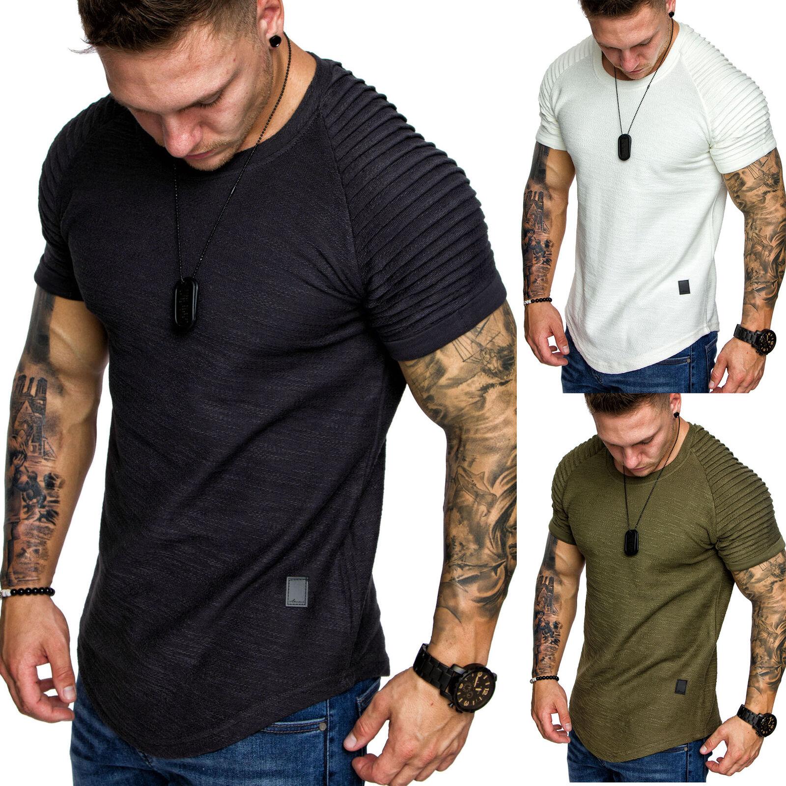 Herren Oversize Vintage Biker-Style Crew-Neck Long Tee T-Shirt Sweatshirt 6068