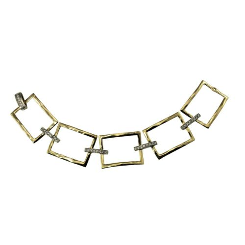 Vintage 14 Karat Yellow Gold and Diamond Link Bracelet #9847
