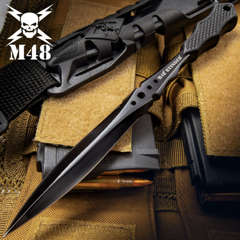 "8"" M48 Stinger Fixed Blade Knife Dagger Tactical Combat Black w/ Shoulder Sheath"