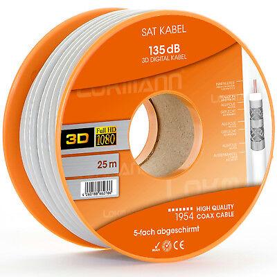 25' Weißes Kabel (LOKMANN 25m 135dB 5-Fach Weiß SAT Kabel Koaxialkabel FULL HD Antennenkabel UHD)