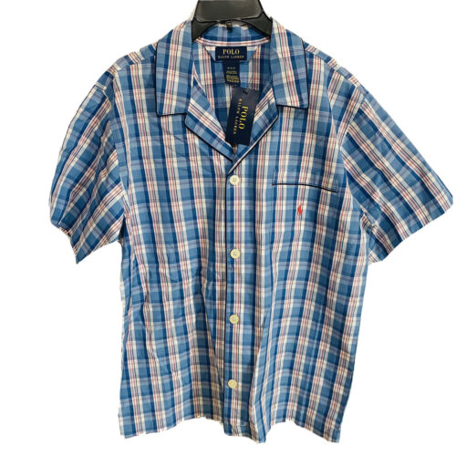 Polo Ralph Lauren Woven Pajama S/S Top Shirt M Plaid Blue Red Cotton Sleepwear Clothing, Shoes & Accessories