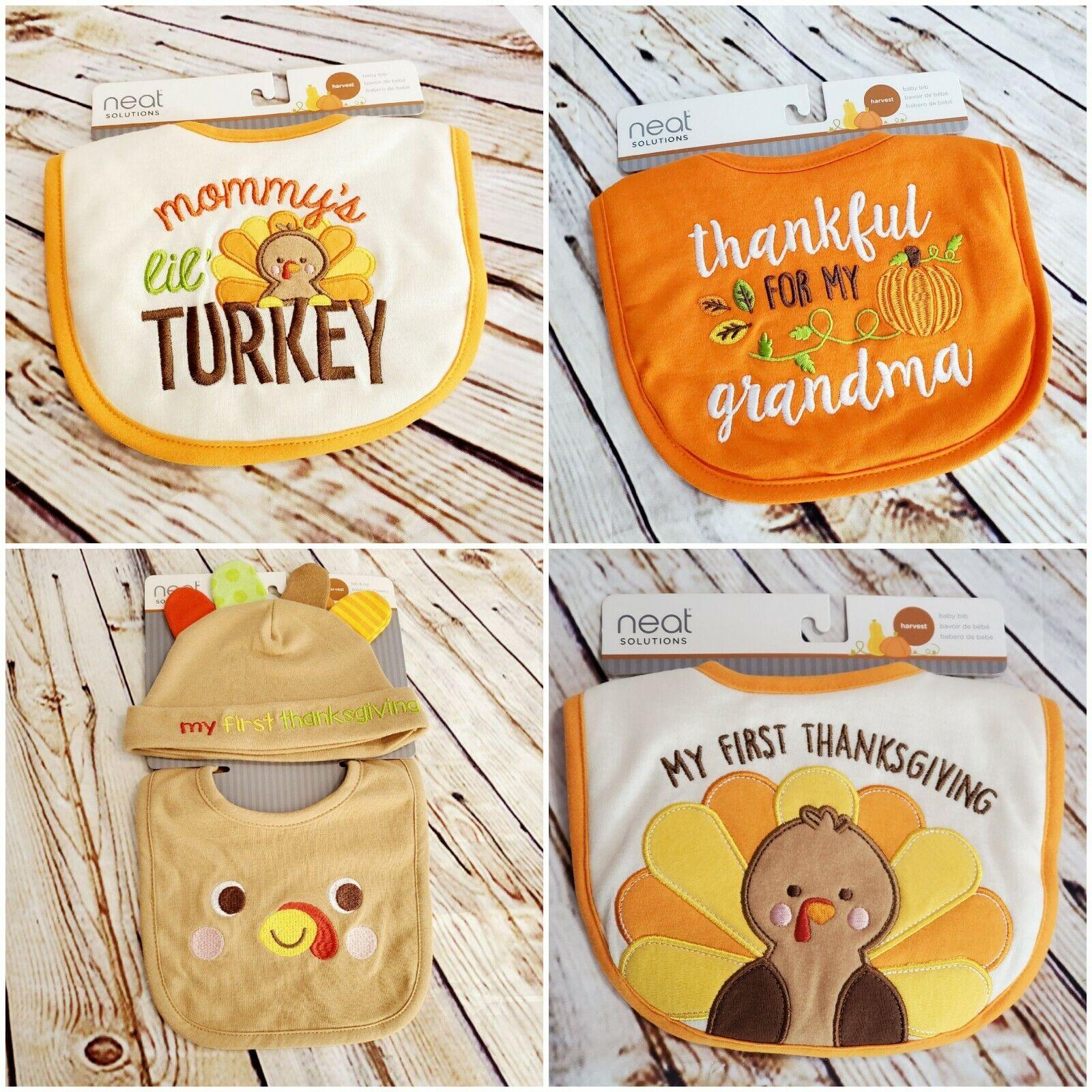 neat baby bib mommys lil turkey pumpkin